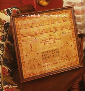 The antique sampler, stitched in 1836 was photographed in the Somers homeplace which was Jannet's daughter-in-law's home.