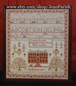 "In 1981, ""The Jannet Irving"" sampler was stitched on Aida, first aged with a homemade coffee and tea dye."